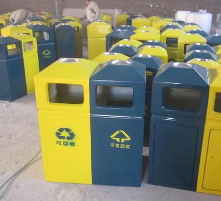 蓝黄两分类垃圾箱 - 垃圾桶
